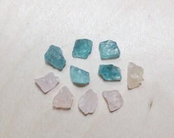 15% off - Raw morganite and blue apatite crystal mixed set // B*2990
