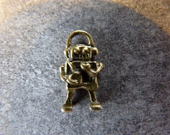 Robot charm bronze