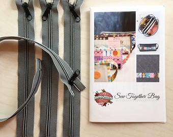 Sew Together Bag Pattern by SewDemented PLUS awesome striped zippers to complete this project!