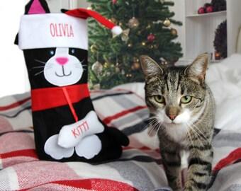 Personalised Cat Christmas Stocking, Personalized Cat Stocking, Cat Gift, Cat Lovers, Pets, Personalised CatGift