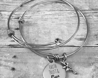Faith, Trust, & Pixie Dust Stainless Steel Bracelet Set
