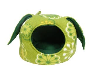 Hedgehog Bed - Guinea Pig Bed - Small Animal Bed - Hedgehog House - Guinea Pig House - Rat Bed - Green Geometric Flowers Bunny Ear Cave