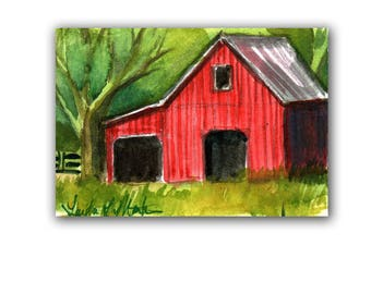 Red Shed Barn Farm Country Baby Nursery llmartin Original ACEO New Mom Grandma Miniature Watercolor Father Dad Free Shipping USA Child