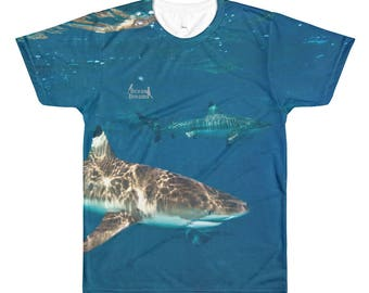 Blacktip Shark Sublimation men's crewneck t-shirt
