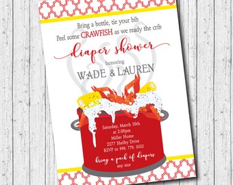 Diaper Shower Crawfish Boil printable/Digital File/couples shower, baby shower, seafood boil, diaper party/Wording can be changed