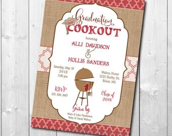 Graduation Party Invitation cookout printable/Digital File/bbq, burgers, class of 2018, girl, boy,/Wording & colors can be changed