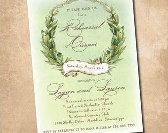 Rehearsal Dinner Invitation printable/Digital file/watercolor, wreath, vine, rehearse, night before, wedding,/wording can be changed