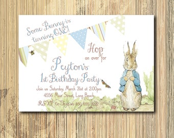 Peter Rabbit Birthday Invitation/boy first birthday, vintage peter rabbit, boy bunny birthday/Printable/Digital File/Wording can be changed