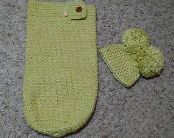 Baby Cocoon and Hat, Green Organic Cotton