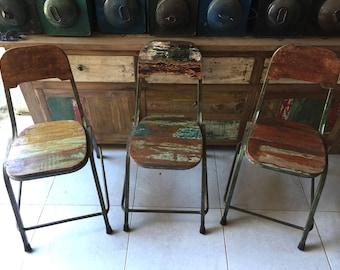 industrial metal wood chairs - urban wood chairs - industrial design - reclaimed wood - vintage chair - urban design