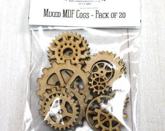 Cogs mixed media MDF - 20 Pack