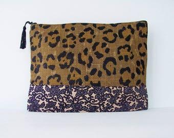 Leopard print burlap pouch