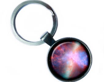 NASA Photograph Nebula Color Burst Keychain Keyring