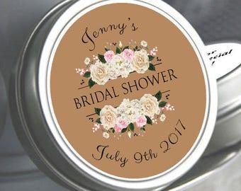 60 Bridal Shower Mint Tins, Personalized Mint Favor Mint to Be Wedding Favor Personalized Bridal Shower Favor, Mint Tin Favors. White Roses