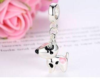 925 Sterling Silver Pet Dog Puppy Animal Dangle Charm Bead Fits Pandora Charm Bracelet