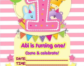 Printed Personalised 1st or 2nd Birthday Party Invitations x10