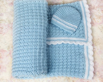 Crochet baby blanket, Blue baby blanket, Boys baby blanket, Newborn blanket, Nursery blanket, Baby gift, Baby shower gift, Baby girl blanket