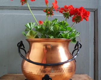 Français Vintage cuivre planteur Jardinier grand suspendu tout pieds jardinière Pot Français cuivre plante Pot Français Country Garden