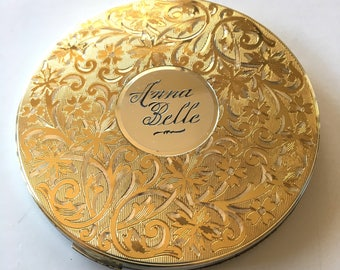 Vintage 1940s Compact Mirror Elgin American Gold Tone