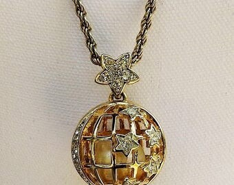 Vintage Twisted Gold Tone Chain Link Necklace with Open Work Faux Diamond Rhinestone Orb & Caged Pearl Pendant