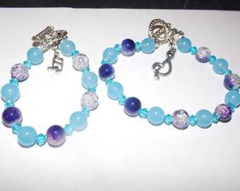Hand made Mommy and Me Aqua beaded bracelets
