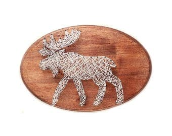 Moose DIY design, Moose String art, cabin decor, kid's craft, string art kit, nursery decor, birthday gift, craft activity, Woodland decor