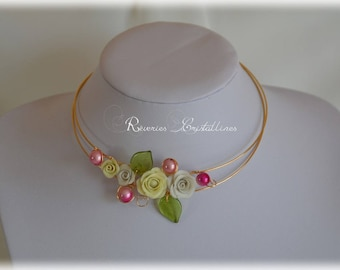 Wedding necklace wire metal, glass and pink leaves in porcelain, wedding pearls necklace, jewelry, wire necklace, gold jewelry