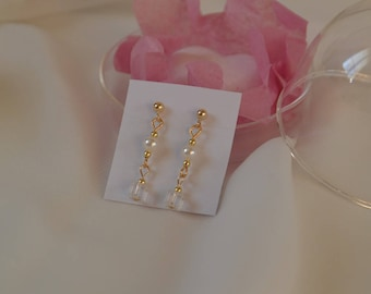 Wedding earrings pearls, cubes, Swarovski crystals - silver and gold finery, bridal earrings, crystal square