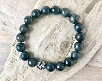 10MM Designer Blue Tiger Eye Gemstone Bracelet with Sterling Silver Accents - Blue Tiger Eye Mens Bracelets - Beaded men Bracelet