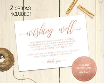 Editable PDF 3,5x5 Rose Gold Wishing Well Card Lieu of gifts Wedding Wishing Well Wedding Insert Calligraphy Printable Digital #DP140_17