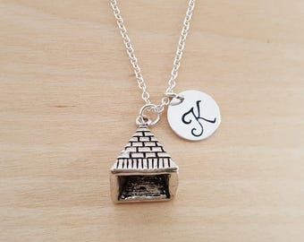 Pyramid Egypt Charm - Personalized Custom Initial Silver Necklace - Simple Jewelry - Gift for Her