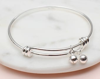 Personalised Sterling Silver Baby Bell Bangle (HBJB05 / 185)