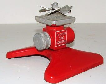 Nice Square Spray Red ~ Aluminum n Metal Sprinkler Very Nice Condition Collector Nice