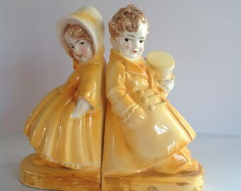 Vintage Katzhutte Bookends Boy and Girl in yellow