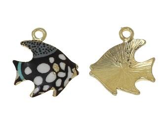 2 pendants charms fish tropical gold enamel 17mmx10mm