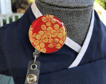 Red Floral Nurse Badge Reel/Velcro Backed and Interchangeable/Flower Badge Reel