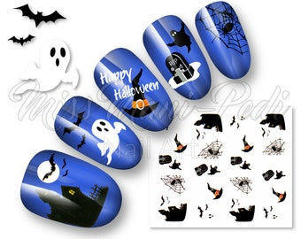 Halloween Nails, Nail Decals, Water Decals, Nail Stickers, Haunted House, Witches Hats, Ghosts, Ghouls, Grave, Boneyard, Spiders, Webs K189