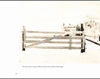 "Closed gate painted by Andrew Wyeth in 1967. The page is 13"" wide and 10"" tall. The image is 11"" wide and 8"" tall."