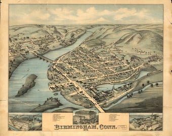 Birmingham Conn Panoramic Map dated 1876. This print is a wonderful wall decoration for Den, Office, Man Cave or any wall.