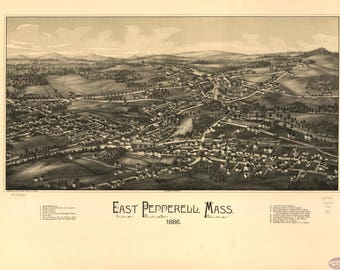 East Pepperell Mass Panoramic Map dated 1886. This print is a wonderful wall decoration for Den, Office, Man Cave or any wall.