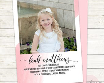 LDS Baptism Announcement- Girl- Invitation- Baptism Invite- Handlettering Invite - Missionary Farewell Personalized You Pick Colors