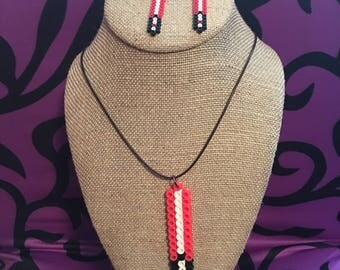 Fused beads lightsaber necklace and earrings jewelry