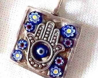Hamsa, Evil Eye, Protection, Amulet, Mystical Mosaic Pendant, PA-18
