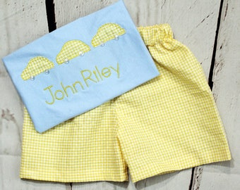 Boys Car Shirt, Toddler Boys- Monogrammed Shirt- Baby Boys- Applique Shirt- Birthday Car Shirt- Short Set- 6m, 12m, 18m, 2t, 3t, 4t, 5t, 6