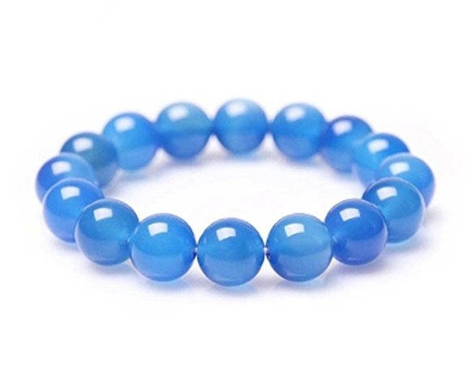 "Blue Chcaledony Bracelet Natural Gemstone 7""- 7.5"" Stretch Bracelet Available in 8 & 10 mm Round Beads-Ideal Gift For Him Her"