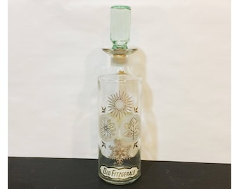 Mid-Century Modern Old Fitzgerald Kentucky Whiskey Glass Decanter