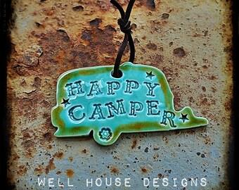 Happy Camper Vintage Turquoise Ornament