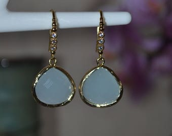 Chalcedony drop earrings.