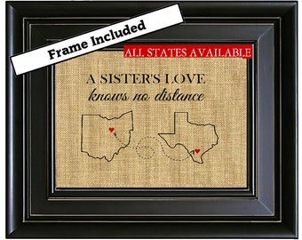FRAMED A SISTERS Love Personalized Gift for Sister Long Distance Map Print Gift from Brother Sister Birthday Gifts Mother's Day Gift