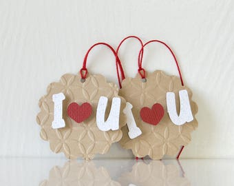 I Heart U Tags: valentines gift tags, valentine's day, v day, goodie bag tags, hanging tags kids or children's party, tent shape - LRD036TG